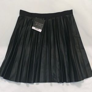 Faux Leather Pleated Miniskirt NWT